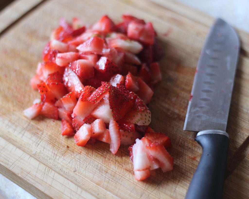 Chopped strawberries