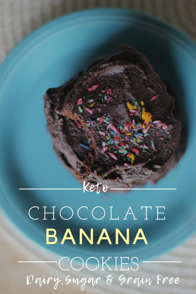 Keto Chocolate Banana Cookies. These chocolate keto cookies have a hint of banana. These low carb cookies come together easily and are rich with chocolate and no sugar!