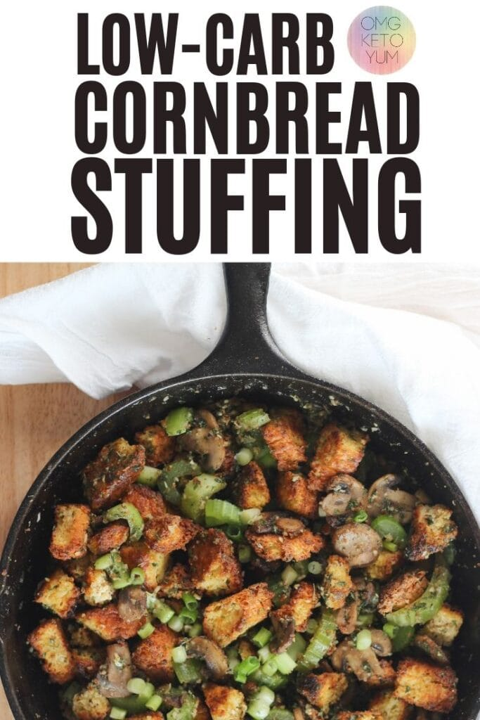 Keto Cornbread Stuffing perfect for your low carb thanksgiving. Make this grain free stuffing for your next holiday get together and keep your low carb diet clean during thanksgiving.