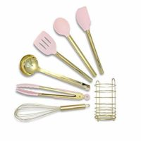 Pink & Gold Cooking Utensils with Stainless Steel Utensil Holder-Silicone Cooking Utensil Set: Gold Whisk,Gold Ladle,Pink Spatula,Gold & Pink Tongs,Pink & Gold Serving Spoon,Turner,Gold Utensil Holder