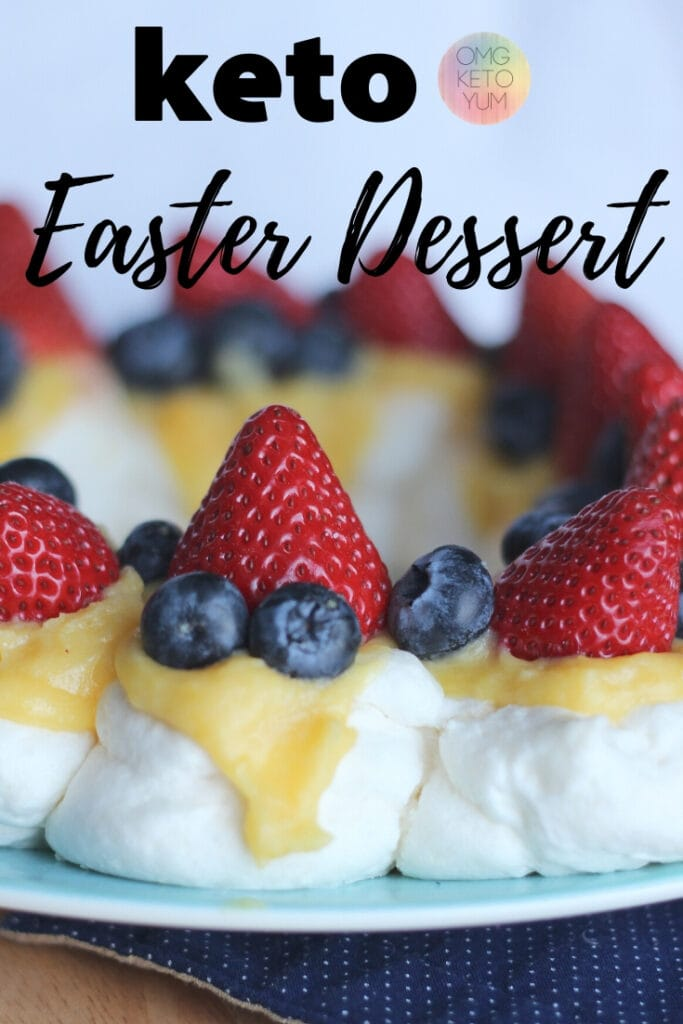 Sugar Free Pavlova with Lemon Curd with Fresh Berries. Try this delicous desert this holiday season. Make this Keto Easter Dessert! Low Carb Easter Dessert that is fresh and fun!