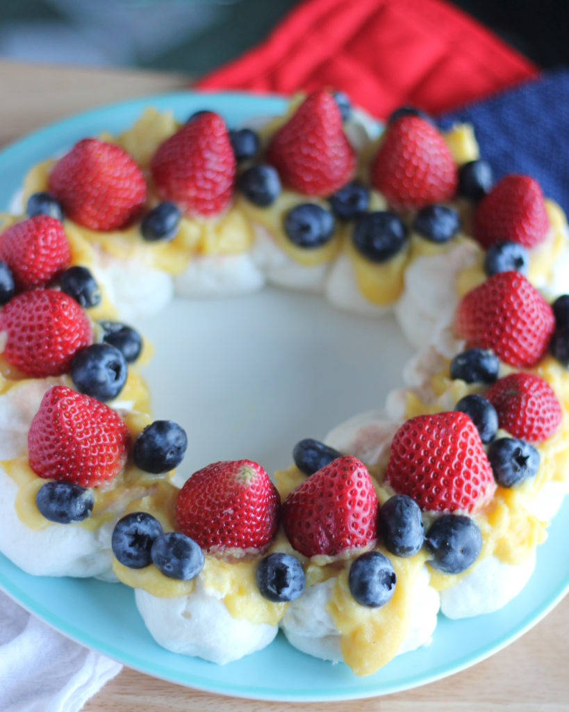 Sugar Free Pavlova with Lemon Curd with Fresh Berries. Try this delicous desert this holiday season.