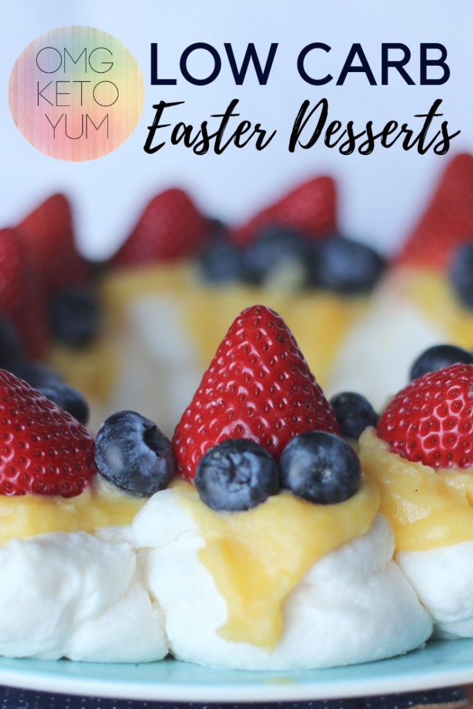A low carb Easter Pavlova with strawberries and blueberries