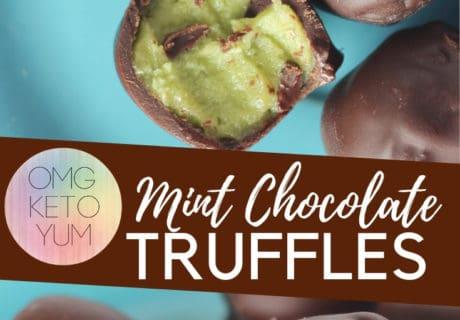 Mint Chocolate Truffles on a blue plate.