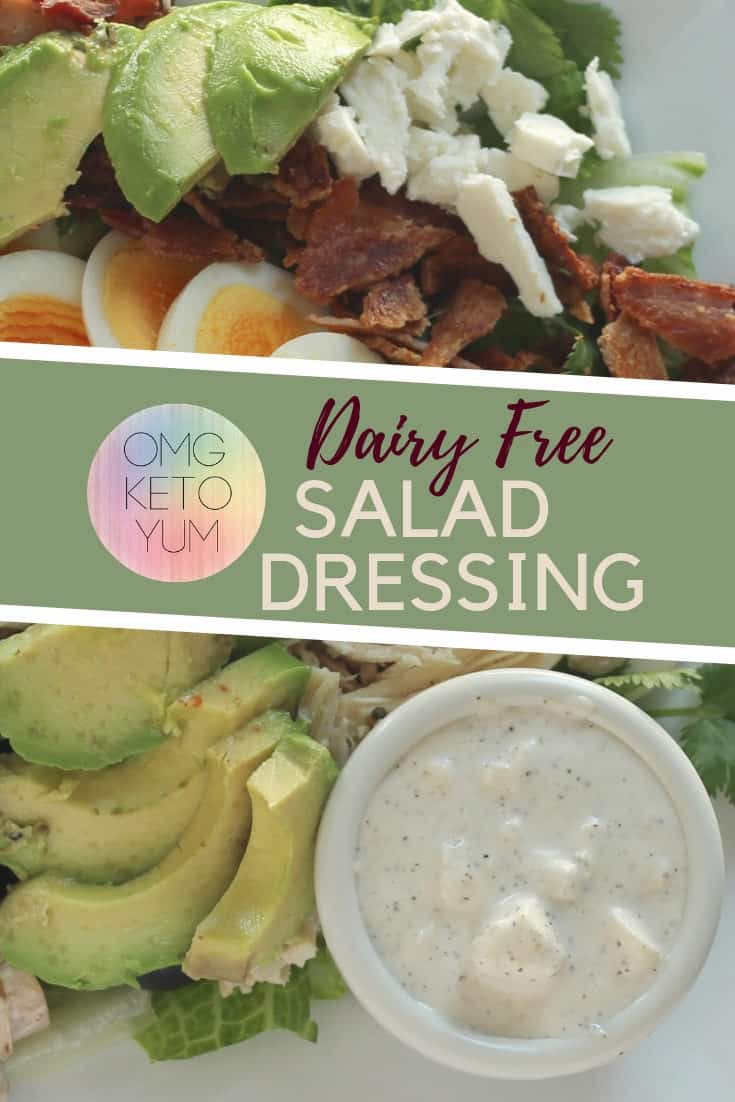 This Keto Salad Dressing is just like a Blue Cheese Dressing except its dairy free! By using Goat Cheese this recipe remains low carb and delicious!