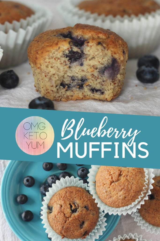Low Carb Blueberry muffins on a teal plate.