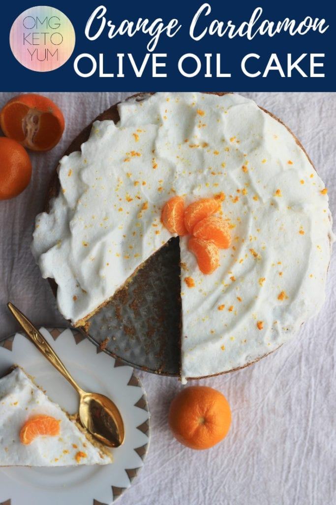 A low carb olive oil cake flavored with Orange and Cardamom.