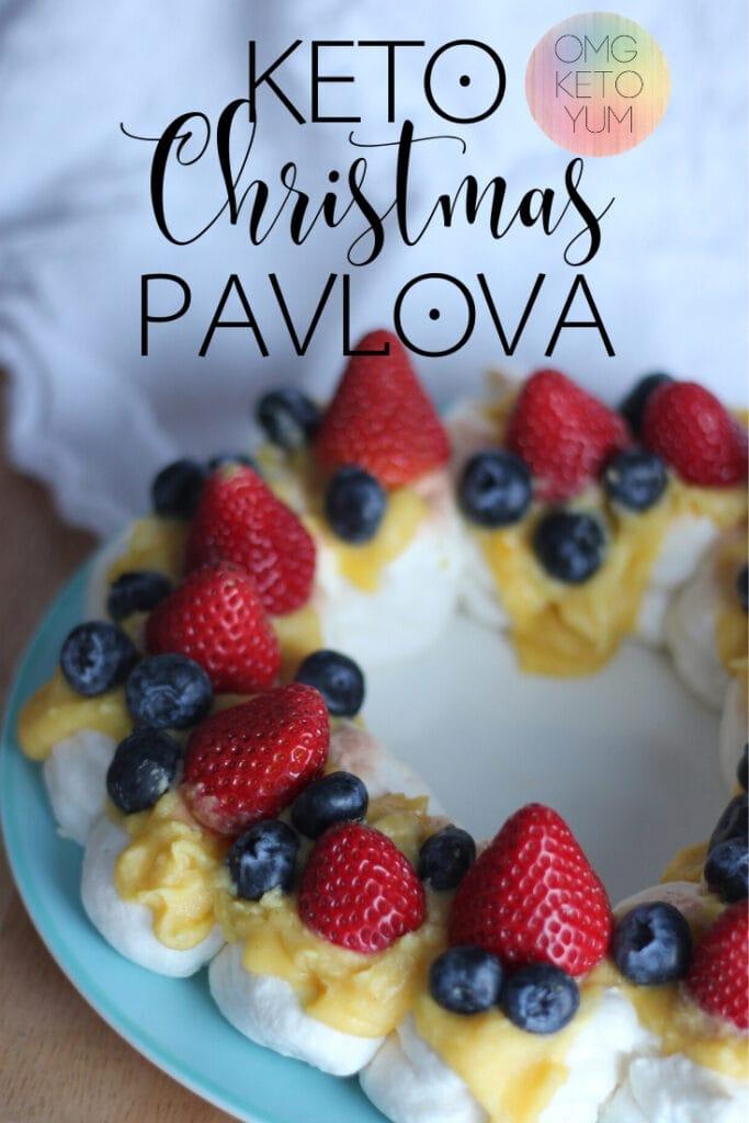 Keto Christmas Pavlova! Make this low carb pavlova for christmas this year. Treat yourself to a delicious low carb christmas pavlova. Keep Christmas Keto!