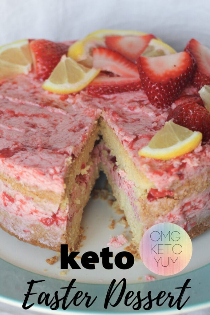 Make this sugar free Easter Dessert! This keto Easter Dessert is perfect for low carb holidays such as Easter. Make this Keto Easter Cake with Strawberries and lemons. Its so good guys!