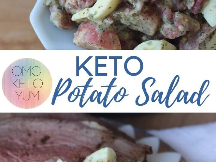 A blue bowl full of Keto Potato Salad.