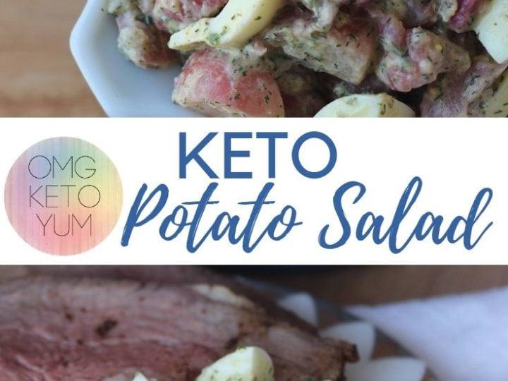 A blue bowl full of Keto Potato Salad.