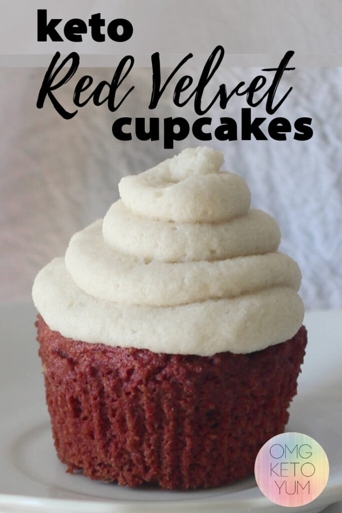 Delicious Red Velvet keto cupcakes. Low carb Red Velvet cupcakes with Dairy free cream cheese frosting.  Keto Cupcakes that are red velvet and perfect! This is the perfect keto dessert recipe for your keto diet.
