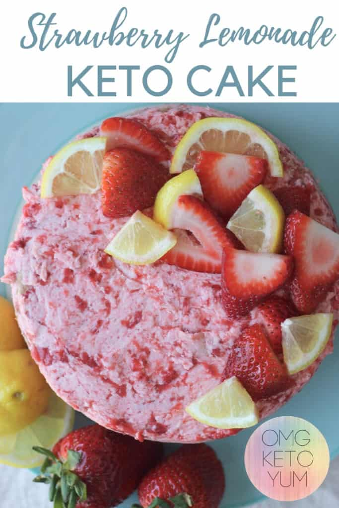 Keto Strawberry Lemonade cake. This low carb dessert is perfect for summer. It is a keto cake that is so good! Delicious Keto Cake!