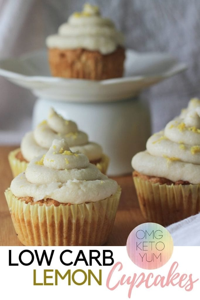Low Carb Lemon Cupcakes with Dairy free frosting. Easy Low Carb Lemon Cupcakes.