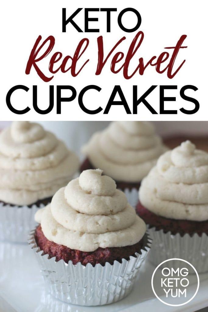 Delicious Red Velvet keto cupcakes.