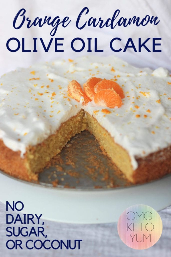 A low carb olive oil cake flavored with Orange and Cardamon.