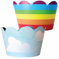 Rainbow Cupcake Wrappers - 36 Reversible   Unicorn Party Supplies, Cloud Cup Cake Liner Wraps, Airplane Birthday Favor Bag Holders, Wizard of Oz Theme Baby Shower Decor, Hot Air Balloon Decorations