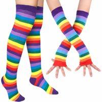 Chalier Womens Rainbow Stripe Knee Thigh High Socks Arm Warmer Fingerless Gloves