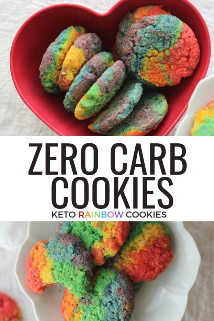 These Zero carb cookies are rainbow and awesome. Taste the keto rainbow with these low carb sugar free cookies!