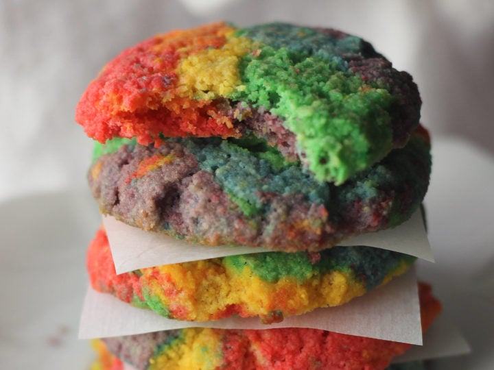 A stack of Rainbow Keto Cookies