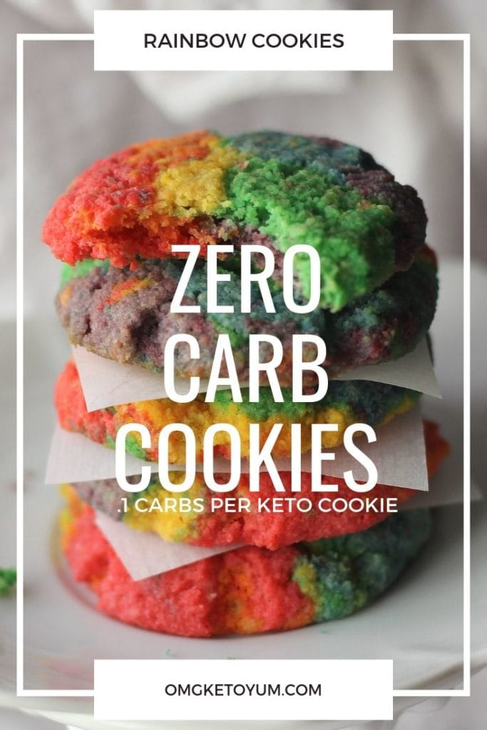 Zero Carb Rainbow Cookies that are not only colorful but only .1 carbs per cookie! Yummy and keto and made with simple ingredients too!
