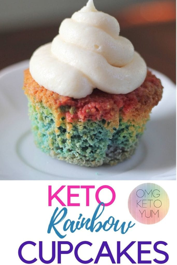 A delicious Rainbow Cupcake with dairy free, sugar free, low carb frosting on top.