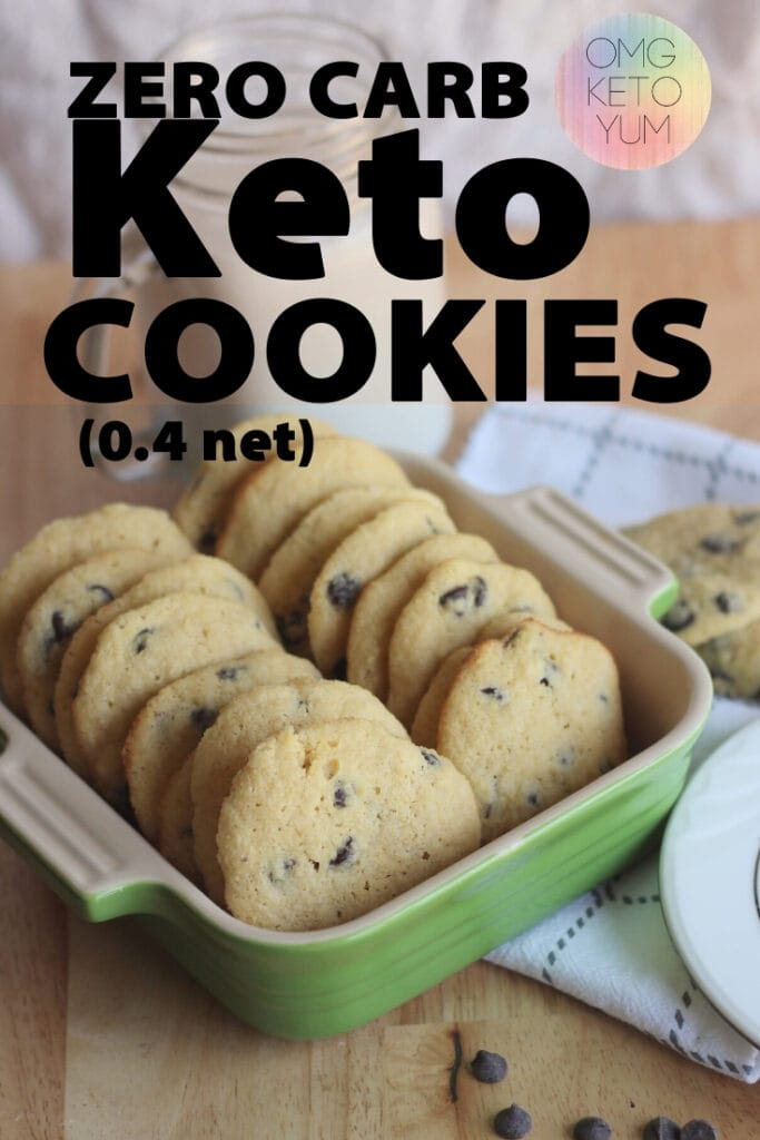 Zero Carb Keto Chocolate Chip Cookies! These low carb cookies are actually zero carb cookies! Only .4 net carbs per keto cookie!