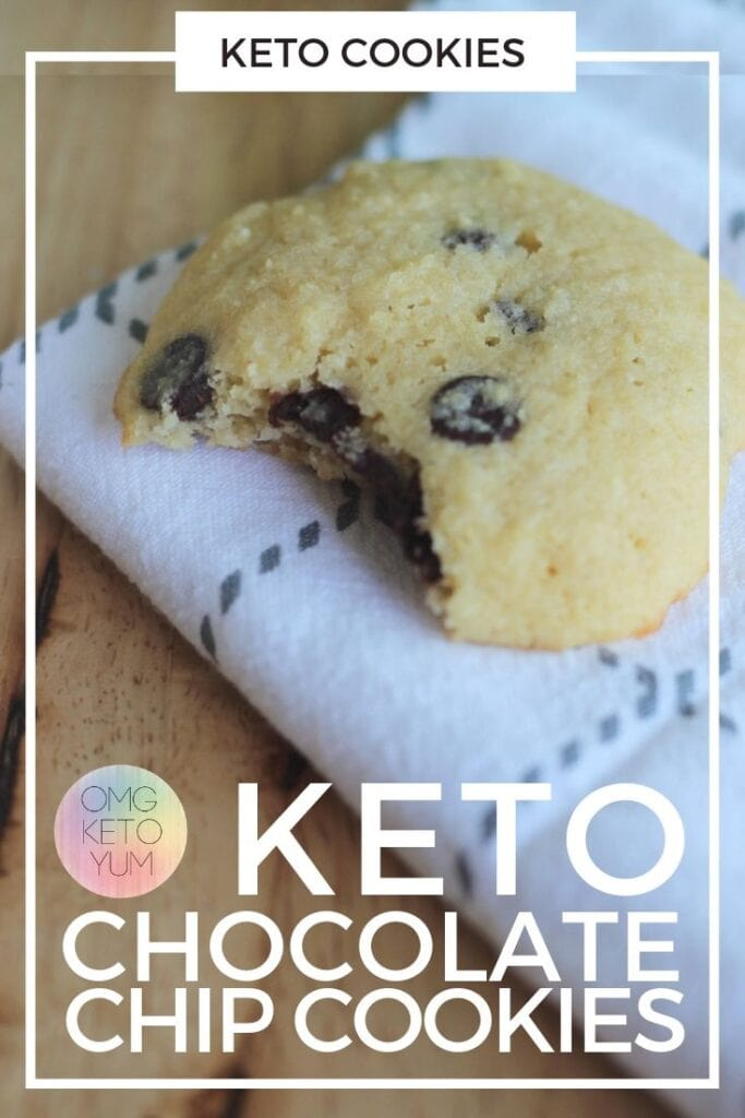 Keto Chocolate Chip Cookies! These keto cookies are soft and chewy and low carb. These cookies are .4 carbs per cookie! Make some Keto Chocolate Chip Cookies for your low carb family because they deserve keto cookies!