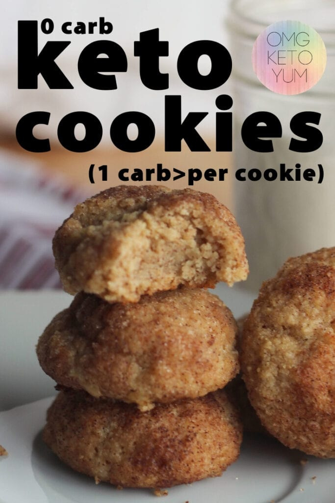 Keto Snickerdoodle Cookies that are only .6 carbs per cookie! These keto cookies are a perfect keto dessert for your keto diet. These Keto Snickerdoodle  cookies are soft and chewy. Make some soft keto cookies for someone who is eating a low carb diet that you love. Eating the keto diet can be easy when you make yourself some keto cookies! PS they're almost zero carb cookies!