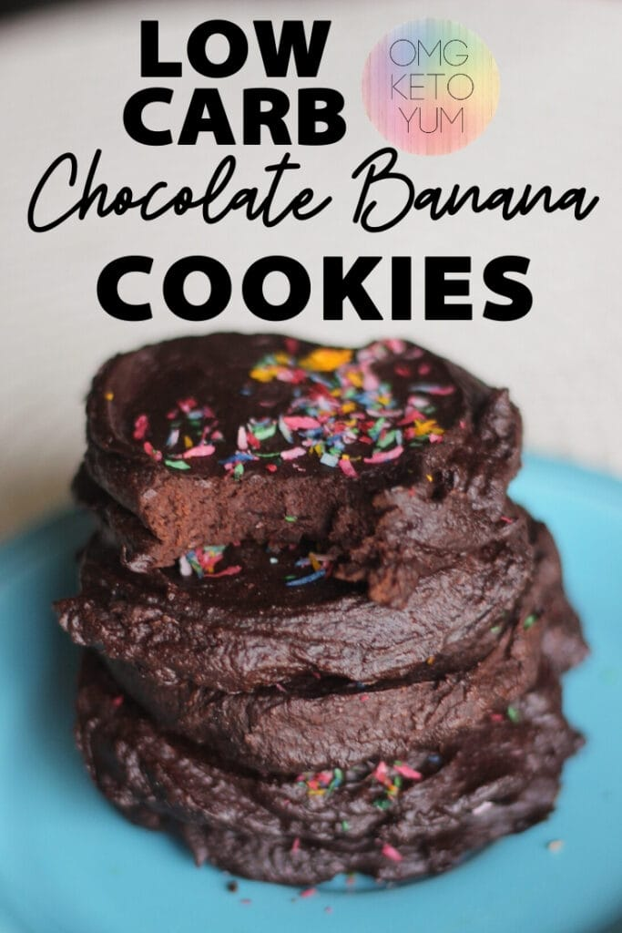 Keto Chocolate Banana Cookies. Sugar Free, Dairy Free and Grain Free! These keto cookies are easy to make and super low carb. Keto Chocolate Cookies are so easy and great for a keto diet.