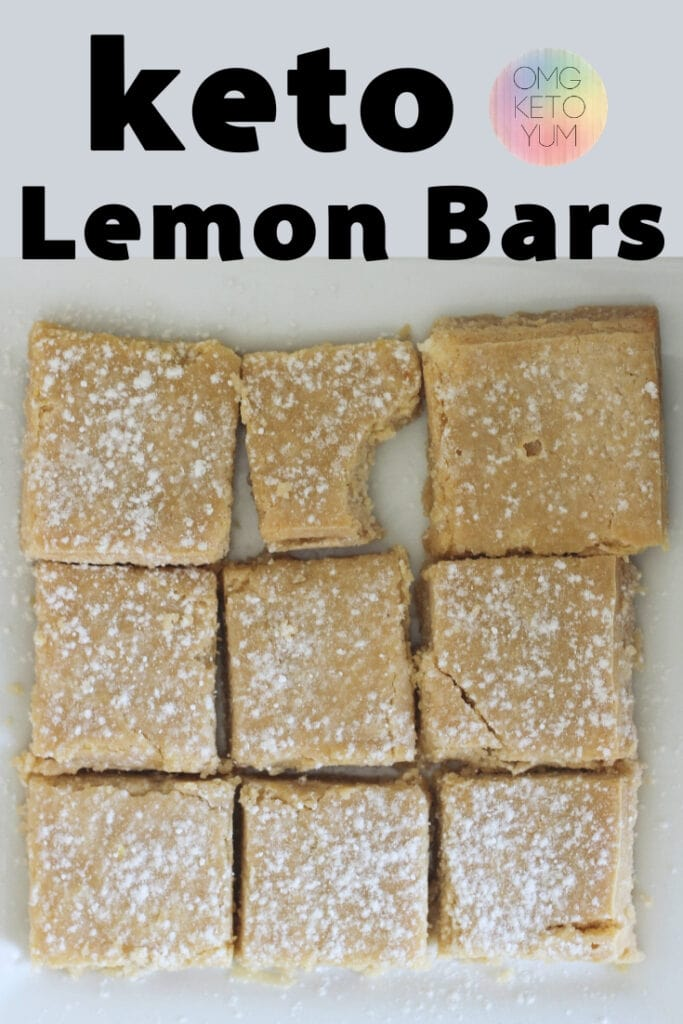 Keto Lemon Bars with a shortbread crust. These sugar-free desserts are amazing and taste just like the original. Make these sugar free desserts for your next keto BBQ or church gathering. A Keto Classic Dessert without the sugar!